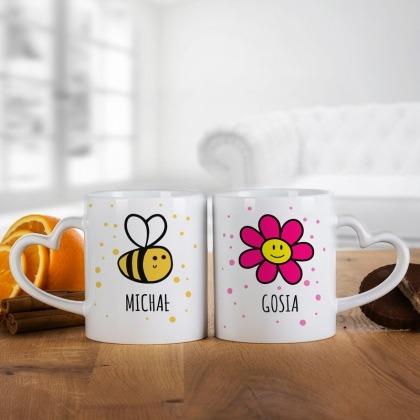 Pszczółka i kwiatek - komplet kubków dla pary
