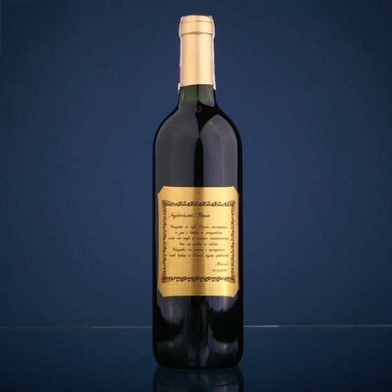 Grawerowana etykieta na butelkę