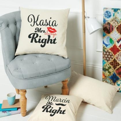 Mr&Mrs Right - komplet poduszek personalizowanych