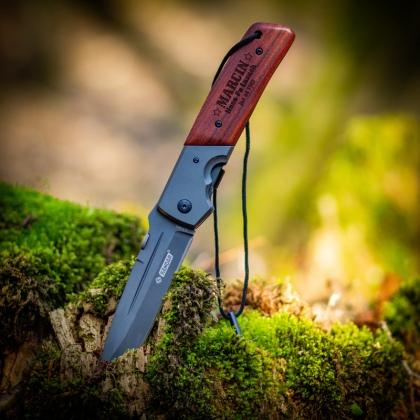 Hasa po lasach - grawerowany nóż składany