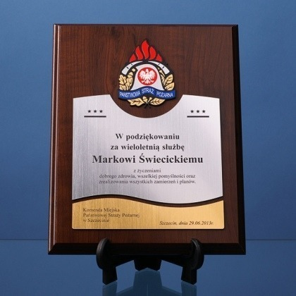 Grawerowany dyplom dla strażaka