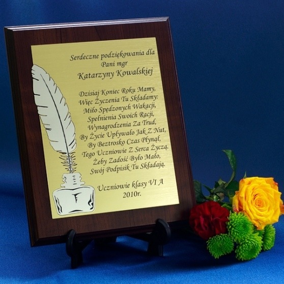 Grawerowany dyplom podziękowania dla nauczyciela