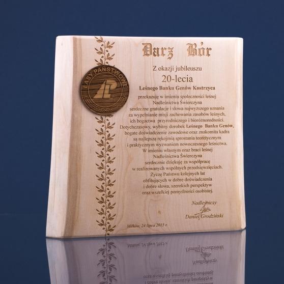 Drewniany dyplom na jubileusz - klon