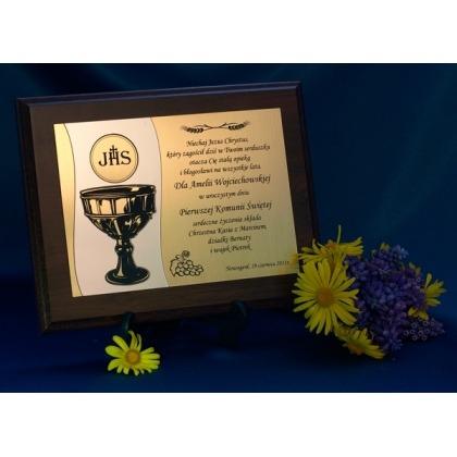 Grawerowana pamiątka Pierwszej Komunii Świętej dyplom